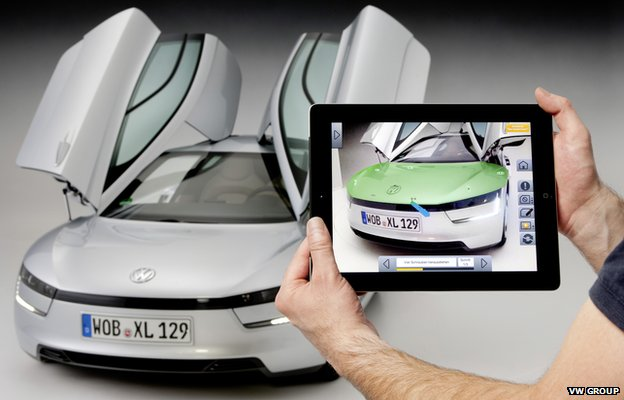 VW XL1 viewed through tablet camera