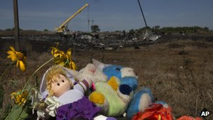 Toys and flowers in the foreground - wreckage of flight MH17 in the background