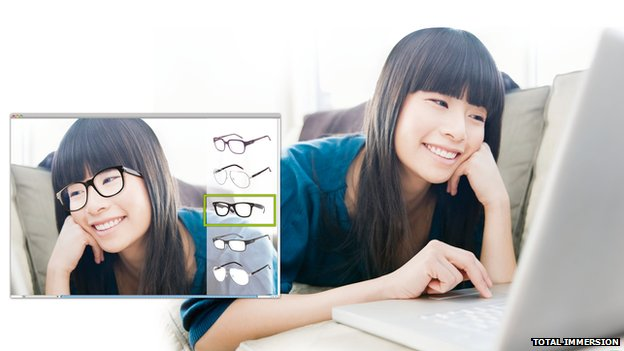 Promo pic of girl trying on virtual glasses