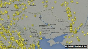 An image from website Flight Radar 24 showing flights avoiding eastern Ukraine.