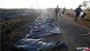 A line of body bags