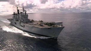 HMS Illustrious at sea