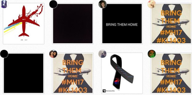 A screengrab of eight Instagram profile picture on the hashtag #BringThemHome