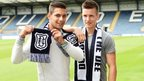 Dundee players Luka Tankulic and Thomas Konrad