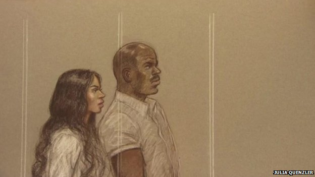 Court drawing of Tulisa Contostavlos and Michael Coombs