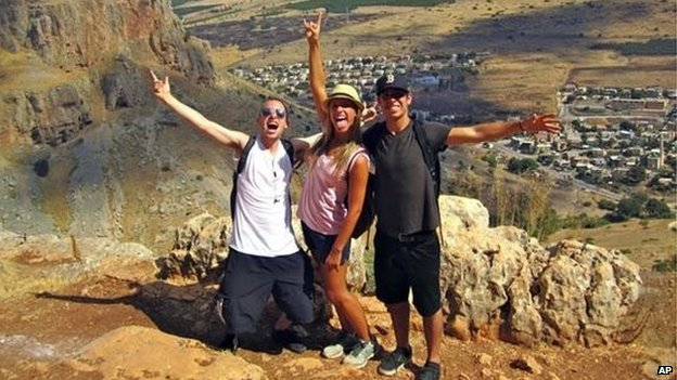 Max Steinberg, left, poses on a trip to Israel with his siblings Paige Steinberg, center, and Jake Steinberg