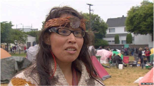 A First Nations protester in Oppenheimer Park, Vancouver