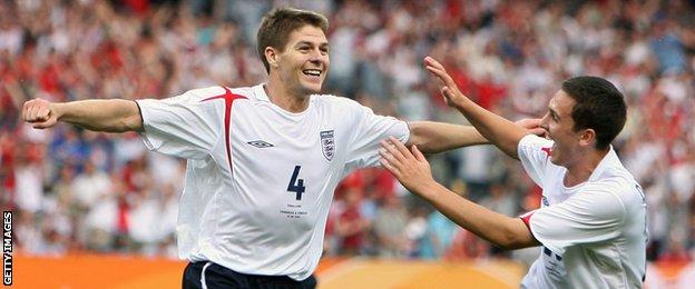 Steven Gerrard scores against Trinidad & Tobago