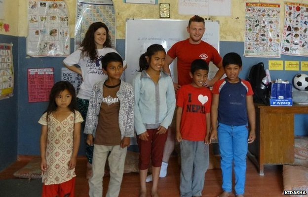 Richard Mayne with children in Nepal