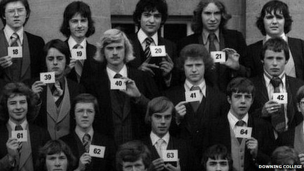 Nick Griffin (holding the number 39) and other graduates of Downing College, Cambridge in 1977