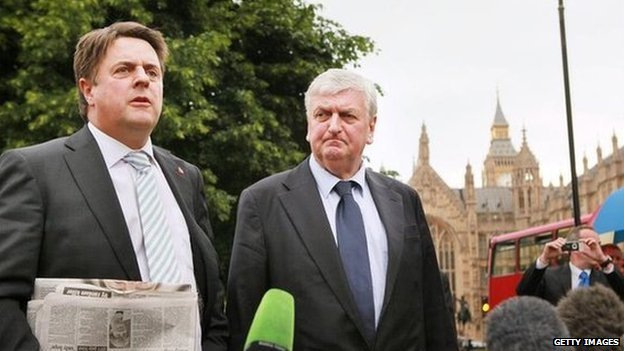 Nick Griffin and Andrew Brons talk to reporters after being elected as MEPs in 2009