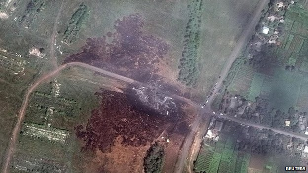 A newly released satellite image shows the crash site in the middle of Grabove in eastern Ukraine