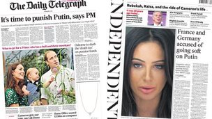 Composite image of front of Daily Telegraph and the Independent
