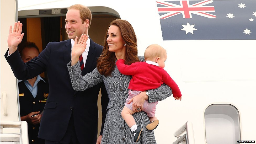 The Duke and Duchess of Cambridge pictured at Fairbairne Airbase as they leave Australia.