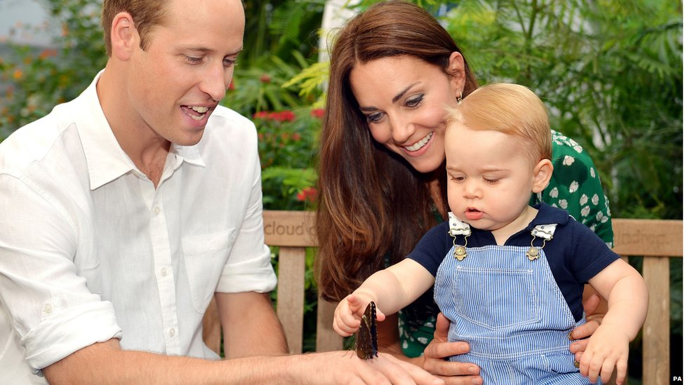 Prince George, with the Duke and Duchess of Cambridge