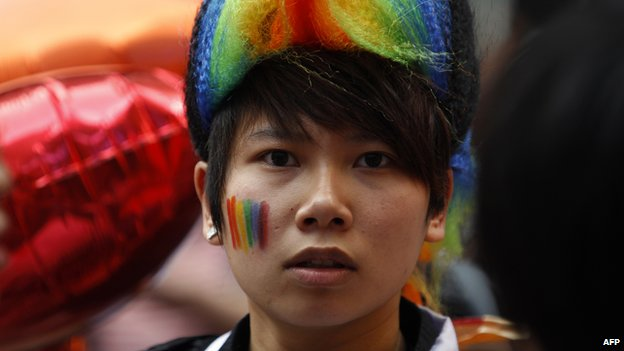 A supporter of the lesbian, gay, bisexual and transgender community takes part in the Hong Kong gay pride parade on November 12, 2011
