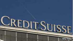 The logo of Swiss bank Credit Suisse