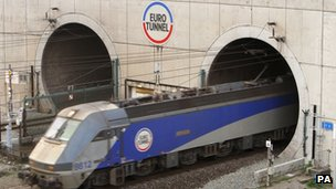 A train leaving the Eurotunnel
