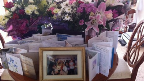 Sympathy cards and flowers