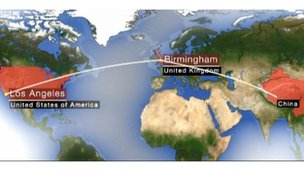 Birmingham to China and LA flight routes