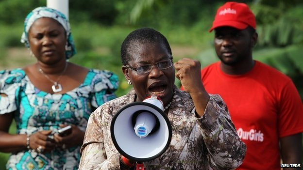 Obiageli Ezekwesili addresses a #BringBackOurGirls meeting at Maitama park in Abuja on 30 May  2014