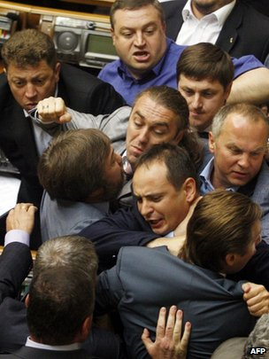 Members fighting in Ukraine's parliament in Kiev, 22 July