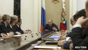 Russian President Vladimir Putin heads a meeting of the Security Council in Moscow (22 July 2014)