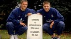Michael Owen and Steven Gerrard  pose during a photo shoot before the World Cup 2002 qualifying match against Germany held at Burnham Beeches Hotel