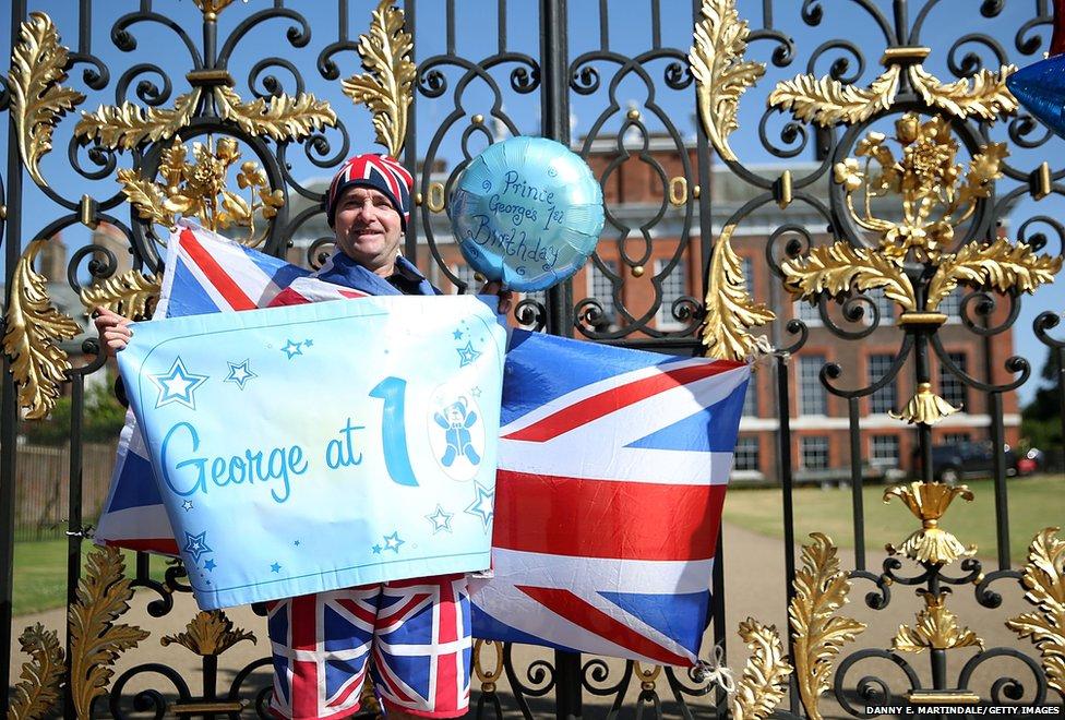 A well wisher outside Kensington Palace