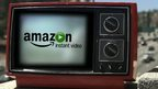 Old TV set with Amazon logo on screen
