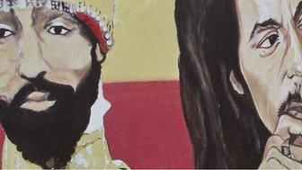 A mural depicting Ethiopian Emperor Haile Selassie I and Bob Marley