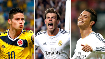 James Rodriguez, Gareth Bale and Cristiano Ronaldo