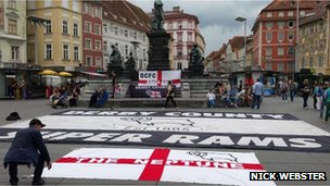 Derby County fans in Graz