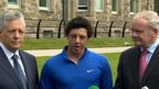 New Open golf champion Rory McIlroy was welcomed to Stormont by Peter Robinson and Martin McGuinness