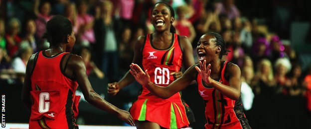 Malawi netball players celebrate