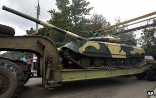 Tank emerging from tank factory in Kharkiv, 22 July