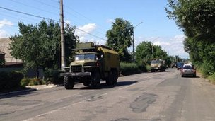 Ukrainian column passing through Sloviansk, 22 July
