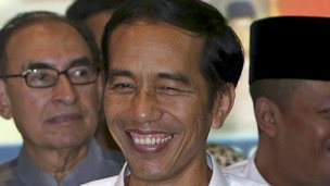Joko Widodo celebrates election win. 22 July 2014