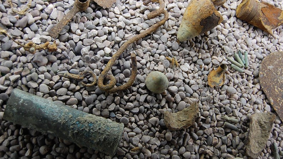 World War One debris artefacts including rifle rounds