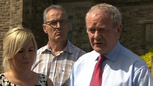 Michelle O'Neill, Gerry Kelly and Martin McGuinness