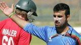 Afghanistan's Dawlat Zadran celebrates a Zimbabwe wicket