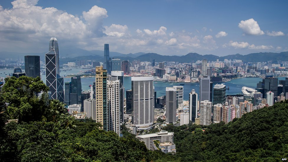 Skyline of Hong Kong, seen from Victoria Peak in September 2012