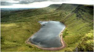 Llyn Y Fan Fach and the Black Mountain in the Carmarthenshire part of the Brecon Beacons National Park