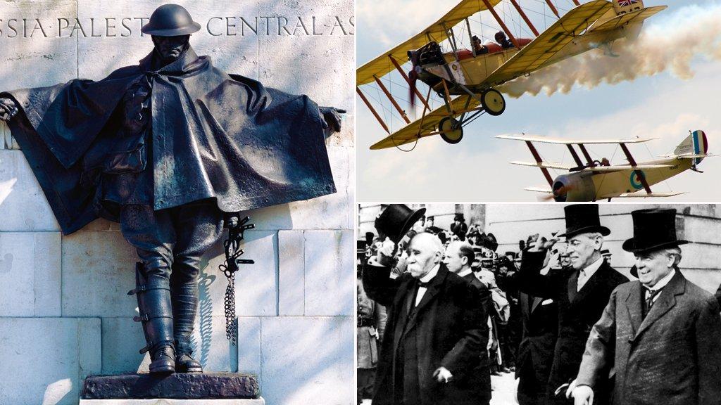 A WW1 memorial statue, WW1 fighter planes and WW1 politicians