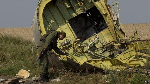 Armed rebel inspects the plane wreckage (22 July 2014)