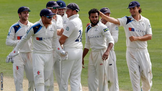 Yorkshire celebrate a wicket against Middlesex