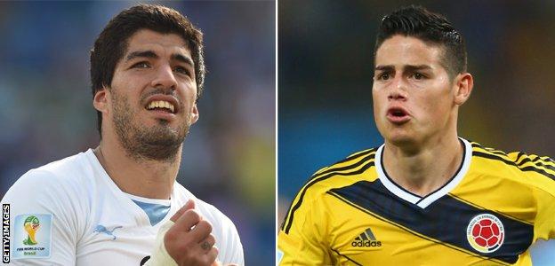 Luis Suarez and James Rodriguez