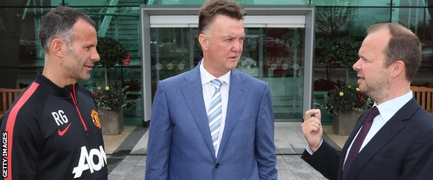 Ryan Giggs, Louis Van Gaal and Ed Woodward
