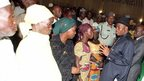 Nigerian leader meets girls' parents