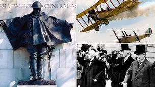 A WW1 memorial statue, WW1 fighter planes and WW1 politicians